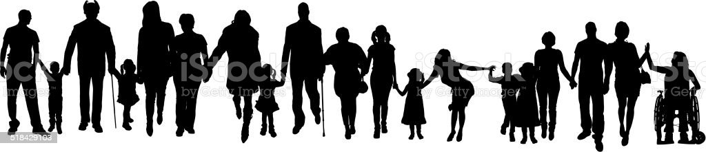 Vector silhouette of a group people. vector art illustration