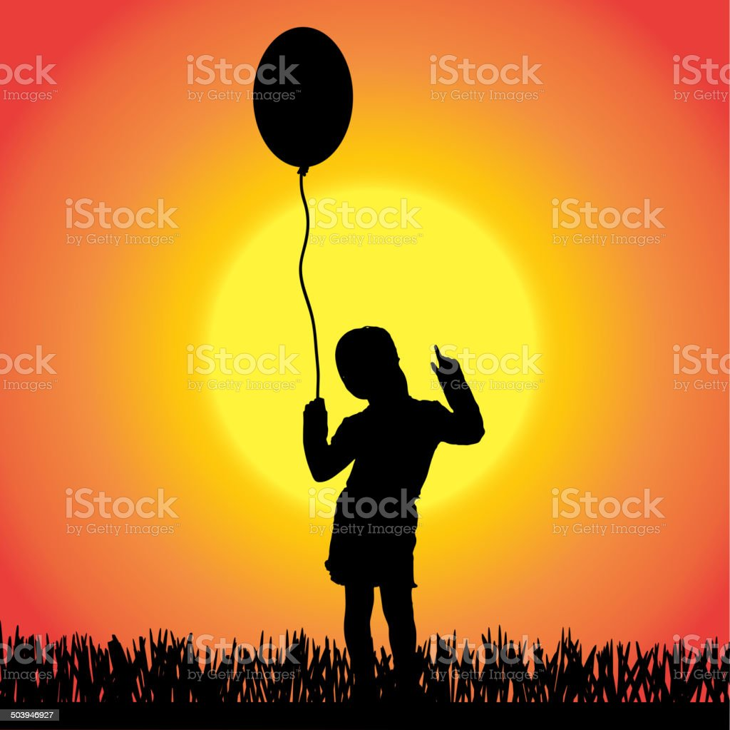 Vector silhouette of a little girl. royalty-free stock vector art