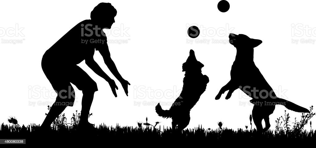 Vector silhouette of a man with a dog. vector art illustration