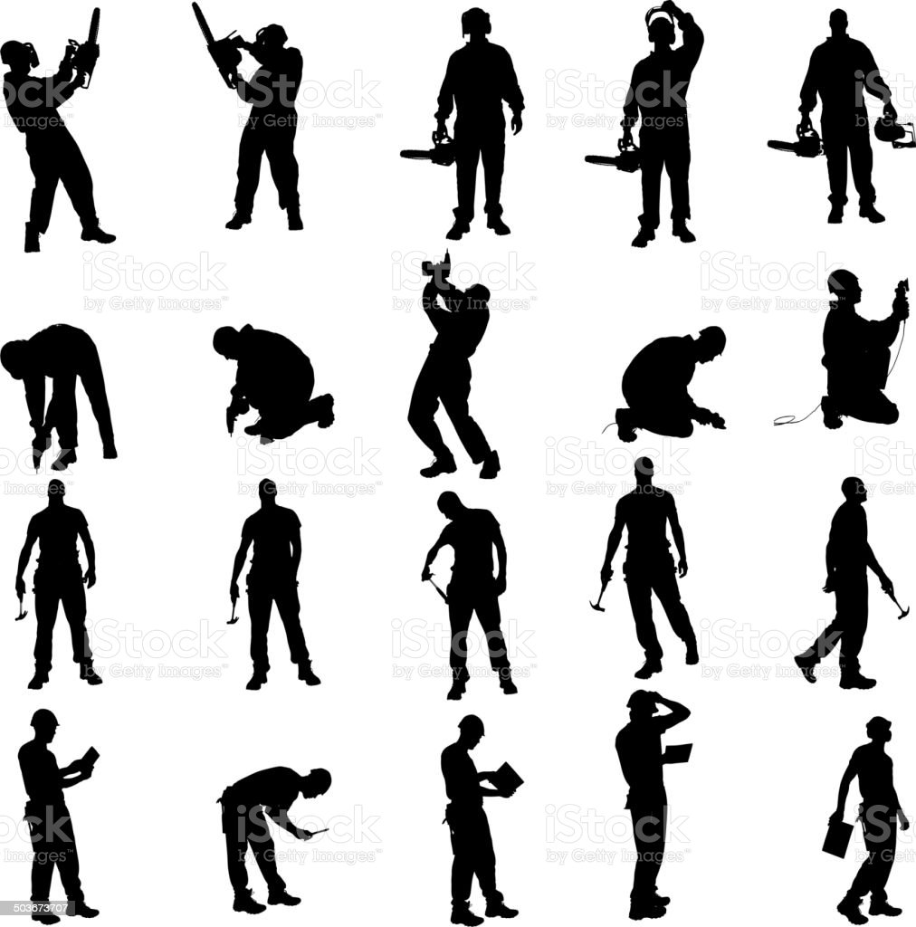 Vector silhouette of a people. vector art illustration