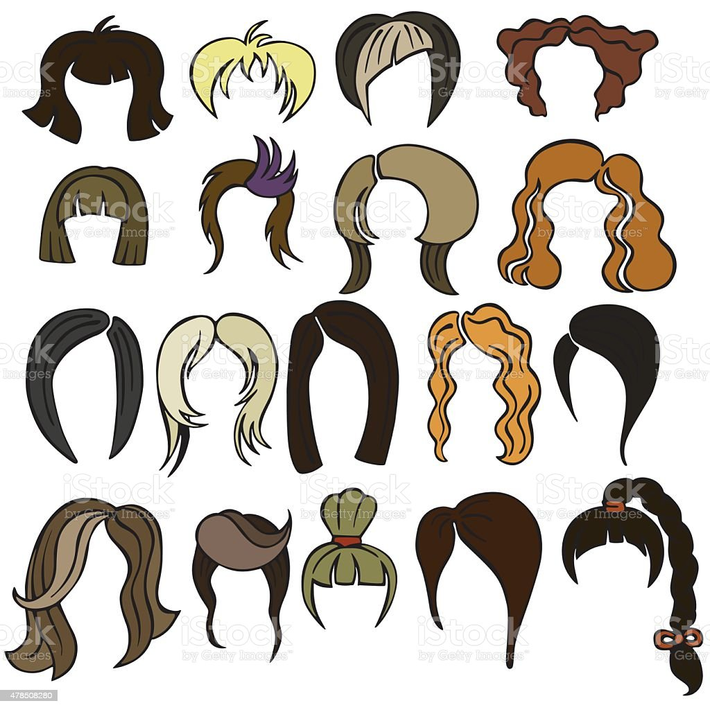 Vector silhouette of a variety of hairstyles vector art illustration