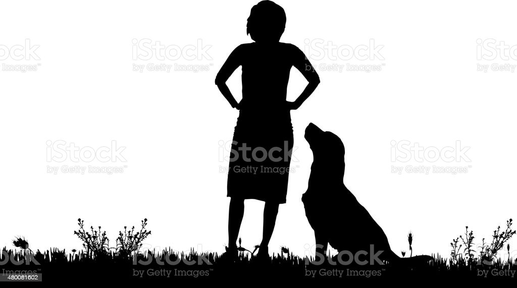 Vector silhouette of a woman with a dog. vector art illustration