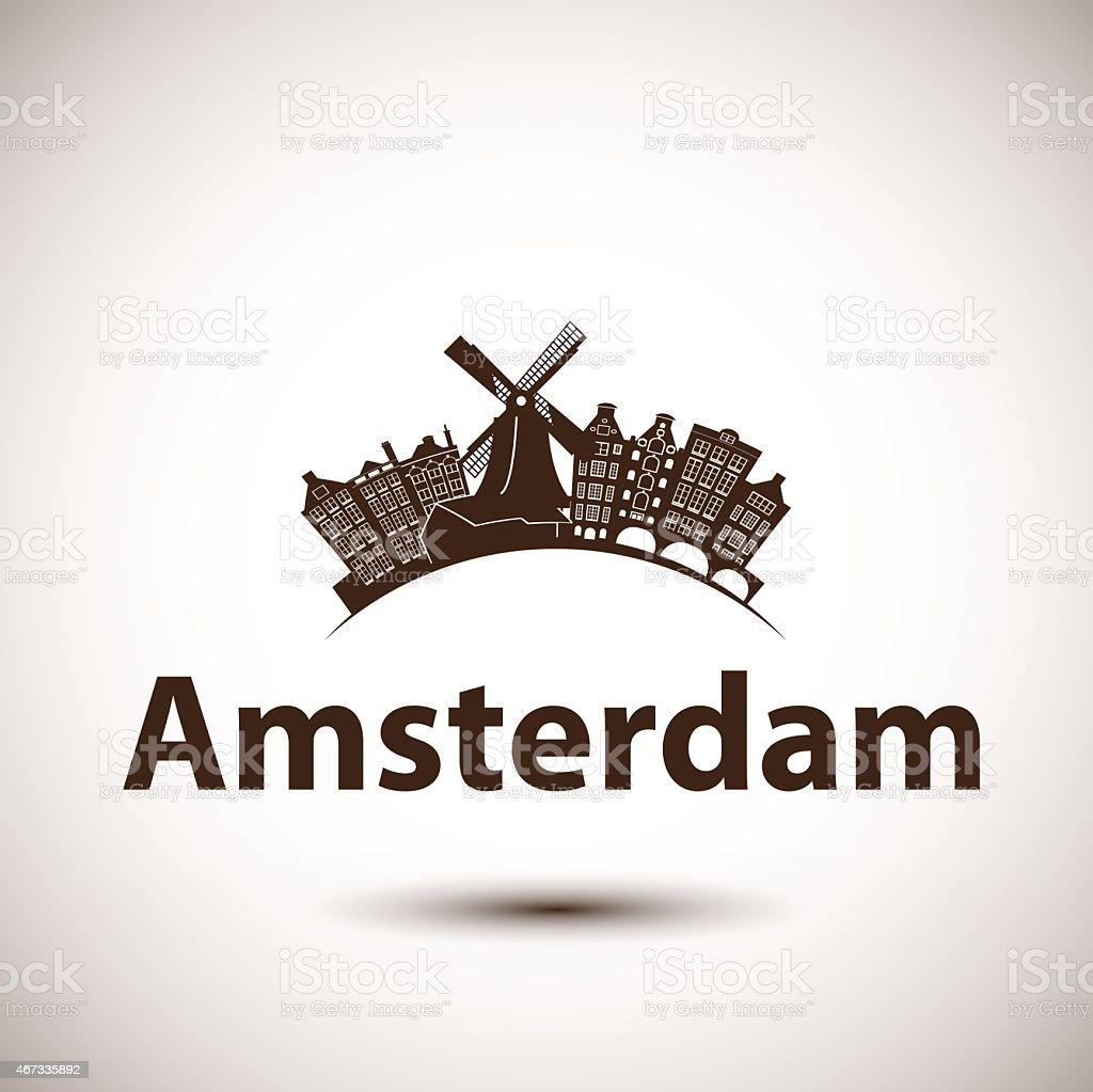 Vector silhouette of Amsterdam, Netherlands vector art illustration