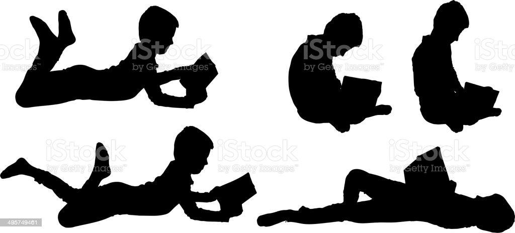 Vector silhouette of boy. vector art illustration