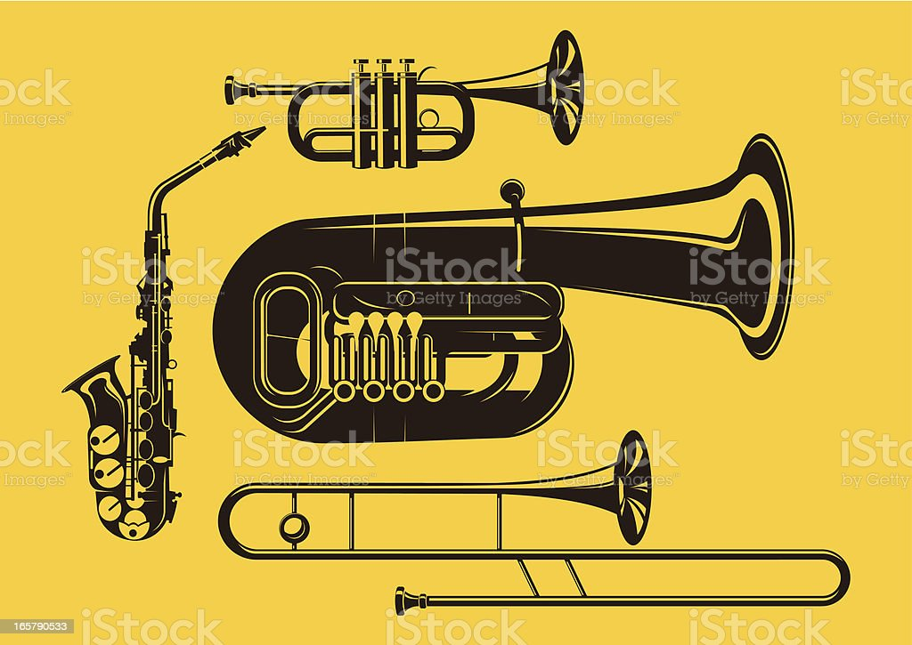 Vector silhouette of brass instruments in yellow background vector art illustration