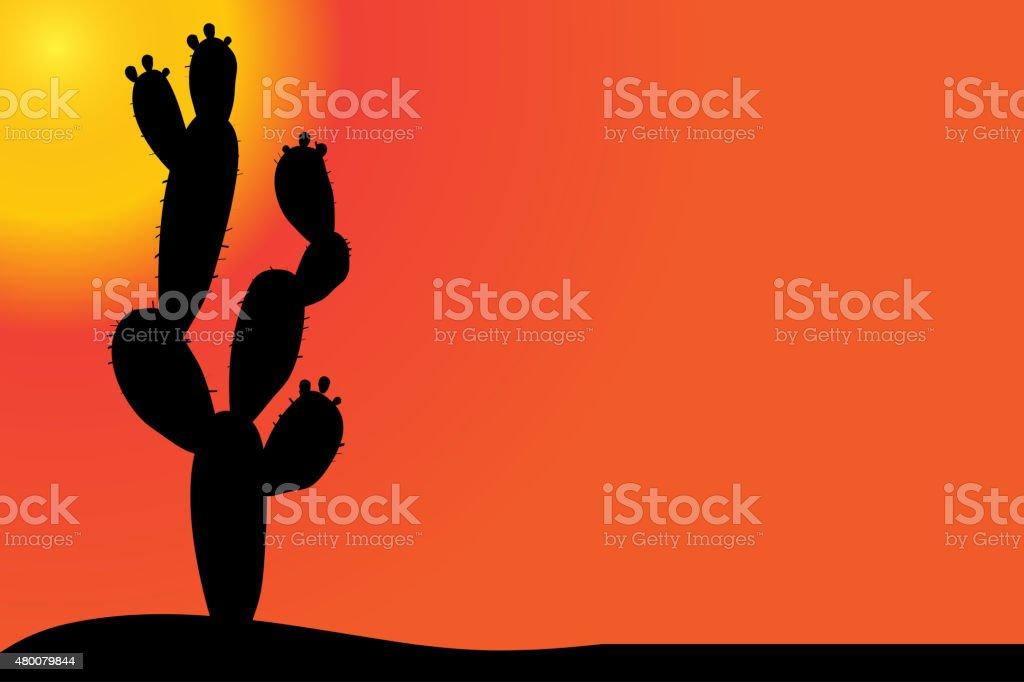 Vector silhouette of cactus. vector art illustration