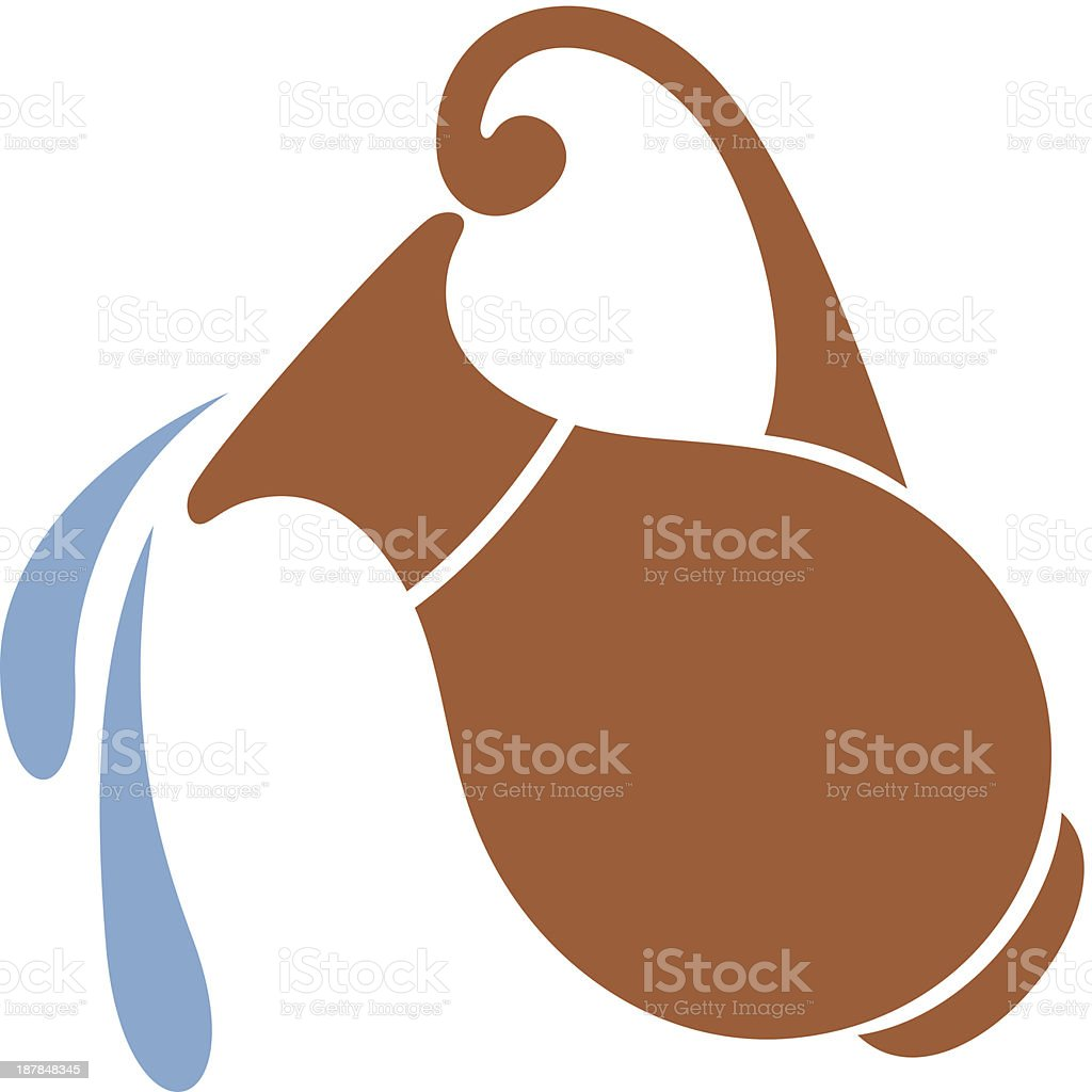 Vector silhouette of clay jar with water. vector art illustration