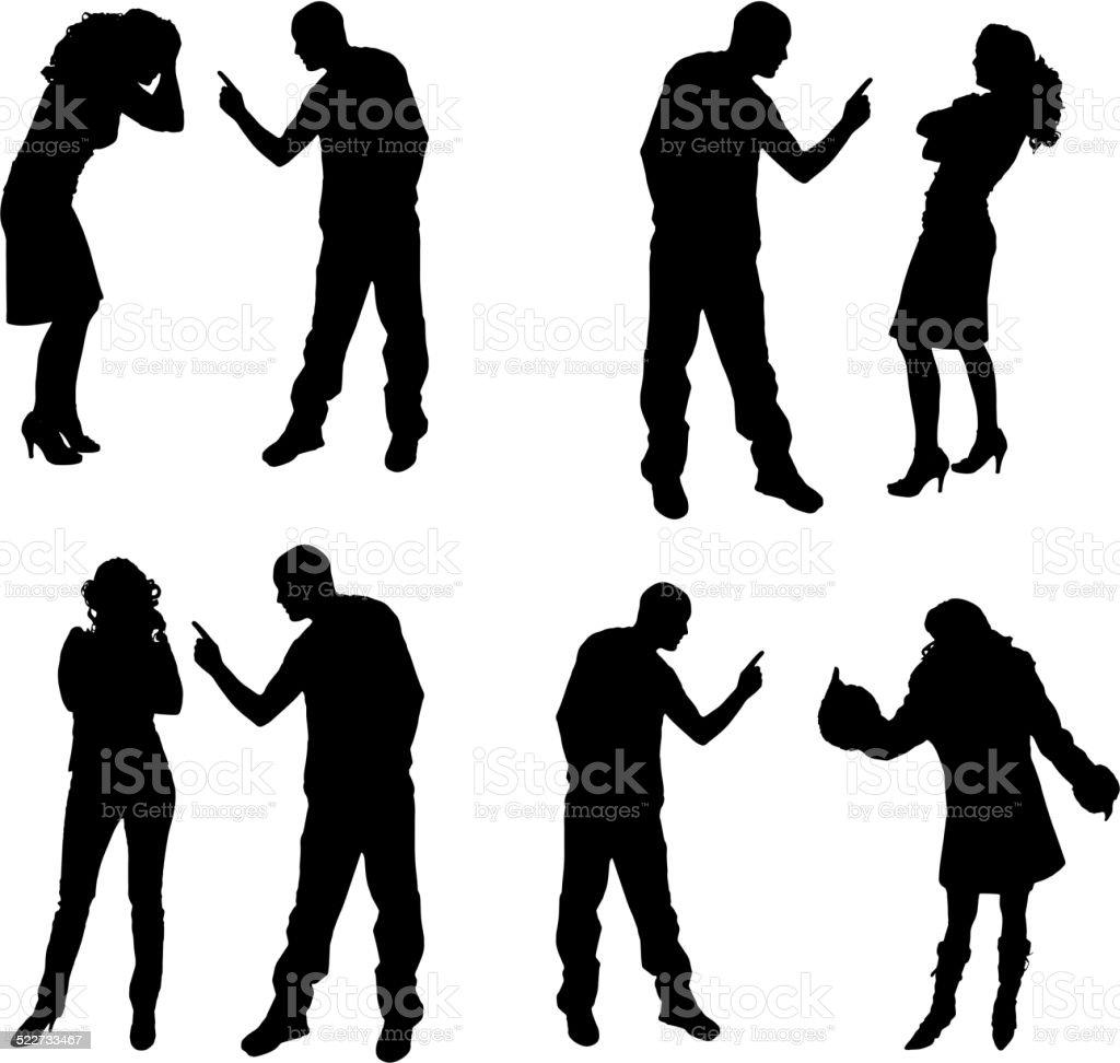 Vector silhouette of couple. vector art illustration