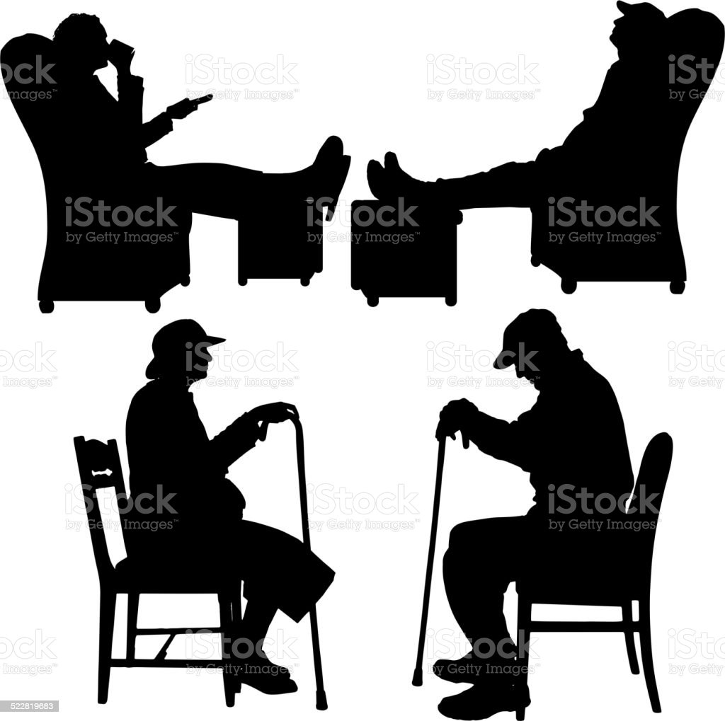 Vector silhouette of couple. vector art illustration