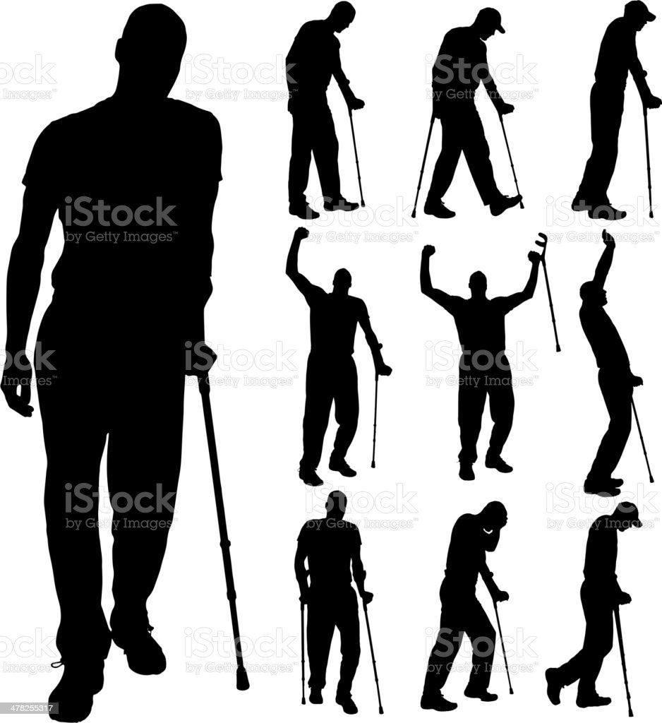 Vector silhouette of disabled people. royalty-free stock vector art