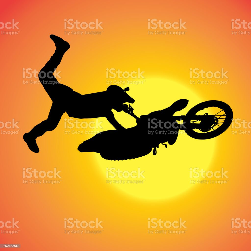 Vector silhouette of extreme jumps. vector art illustration