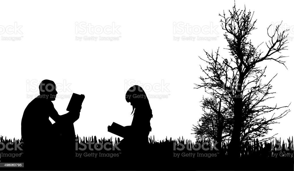 Vector silhouette of family. vector art illustration
