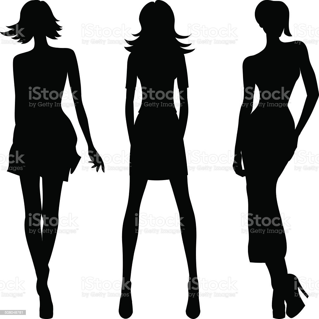 Vector silhouette of fashion girls top models vector art illustration