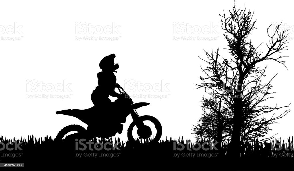 Vector silhouette of  man on a motorcycle. vector art illustration