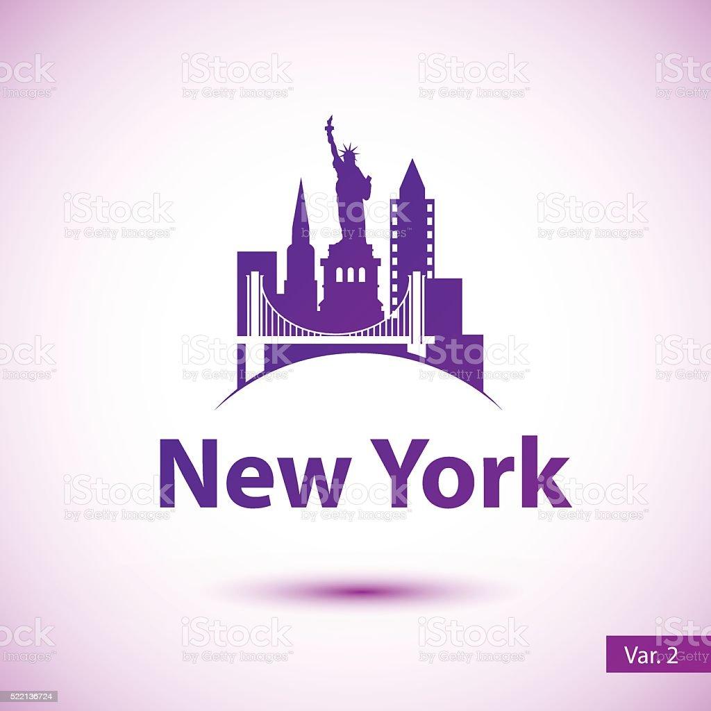 Vector silhouette of of New York vector art illustration