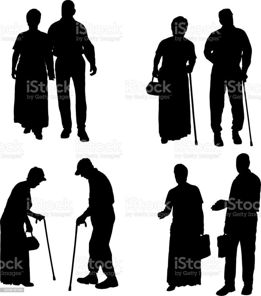 Vector silhouette of old people. vector art illustration
