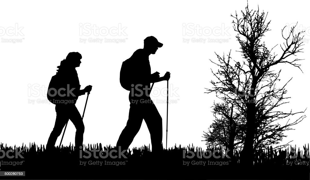 Vector silhouette of people. vector art illustration