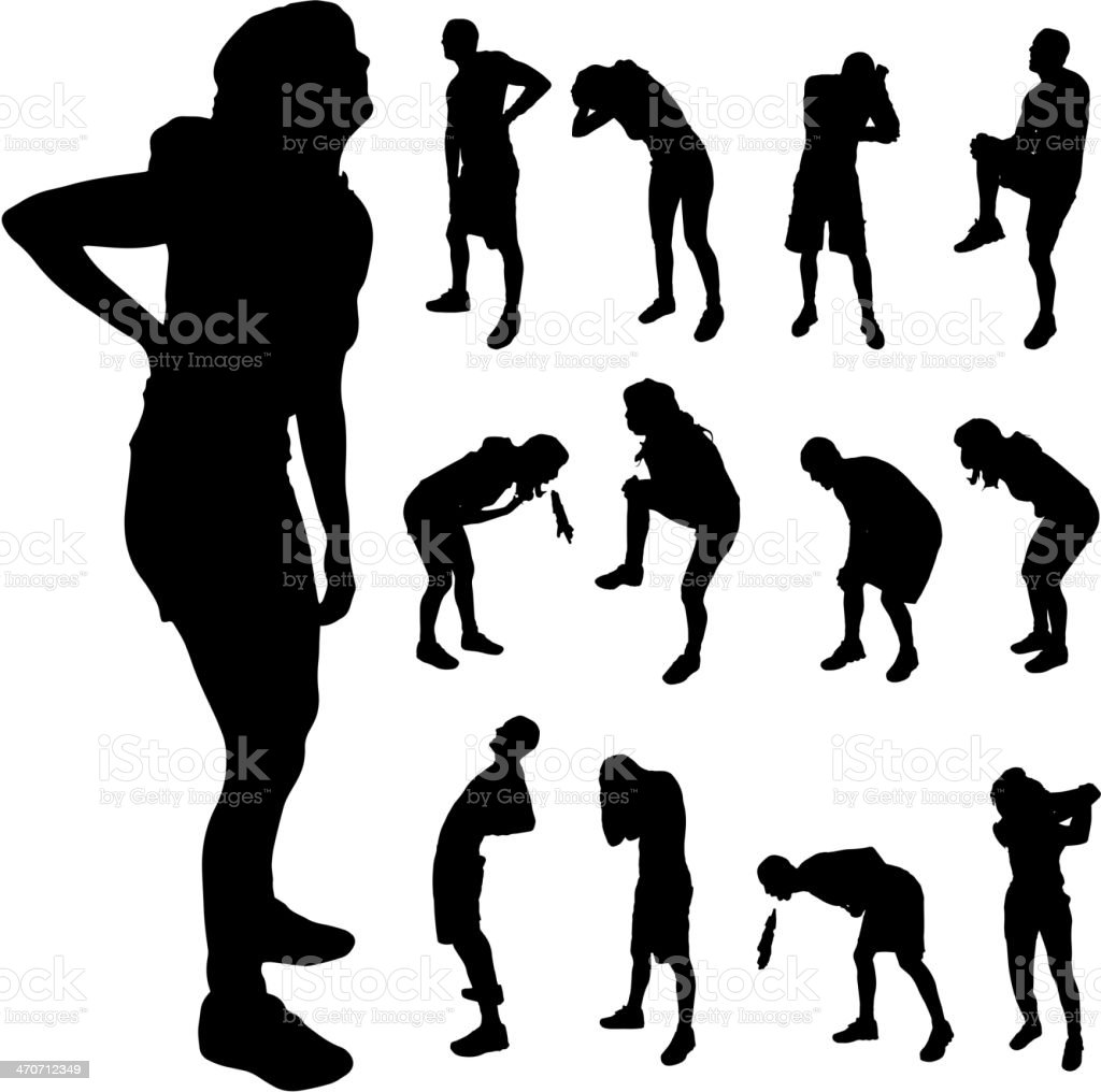 Vector silhouette of people with pain and sickness vector art illustration