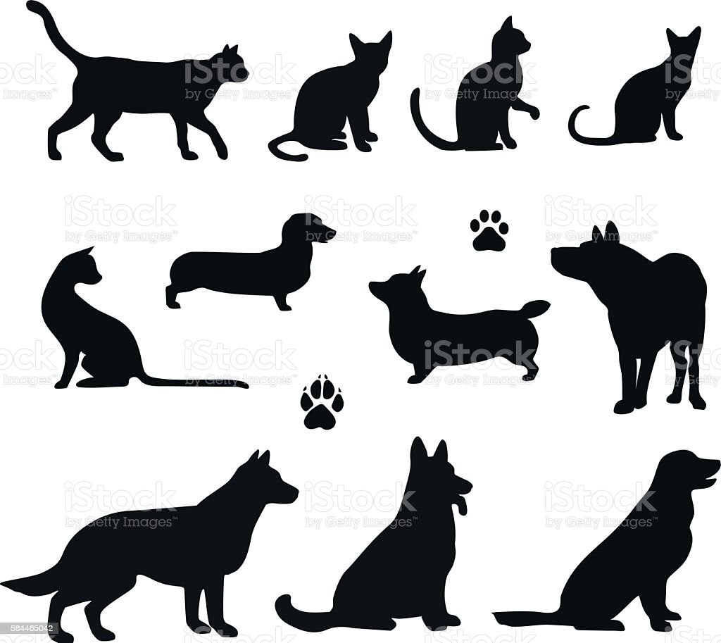 Vector silhouette of pet vector art illustration