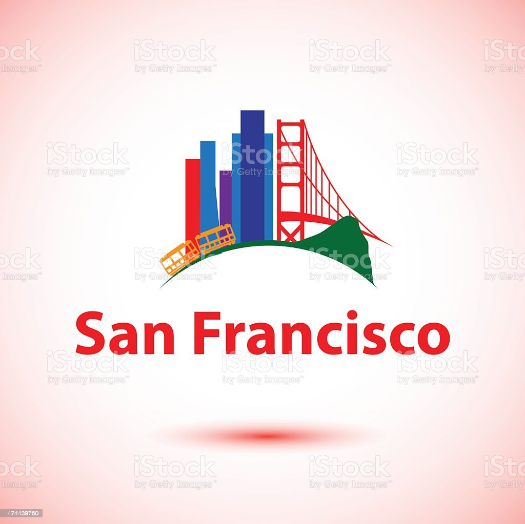 Vector silhouette of San Francisco, USA vector art illustration