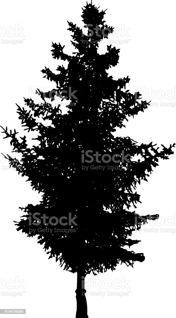 Vector silhouette of tree. vector art illustration