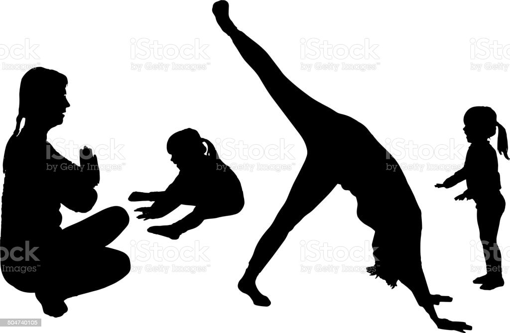Vector silhouette of woman with a child. royalty-free stock vector art
