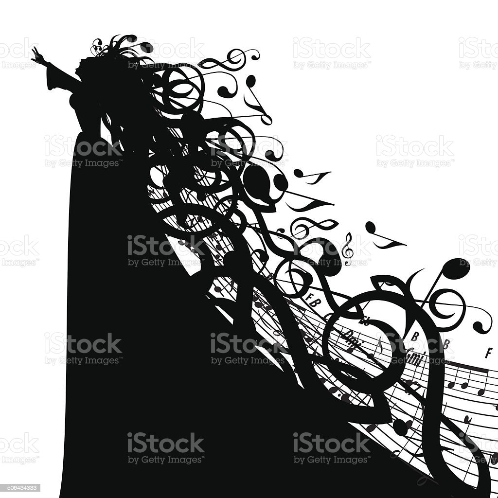 Vector Silhouette of Woman with Musical Symbols vector art illustration