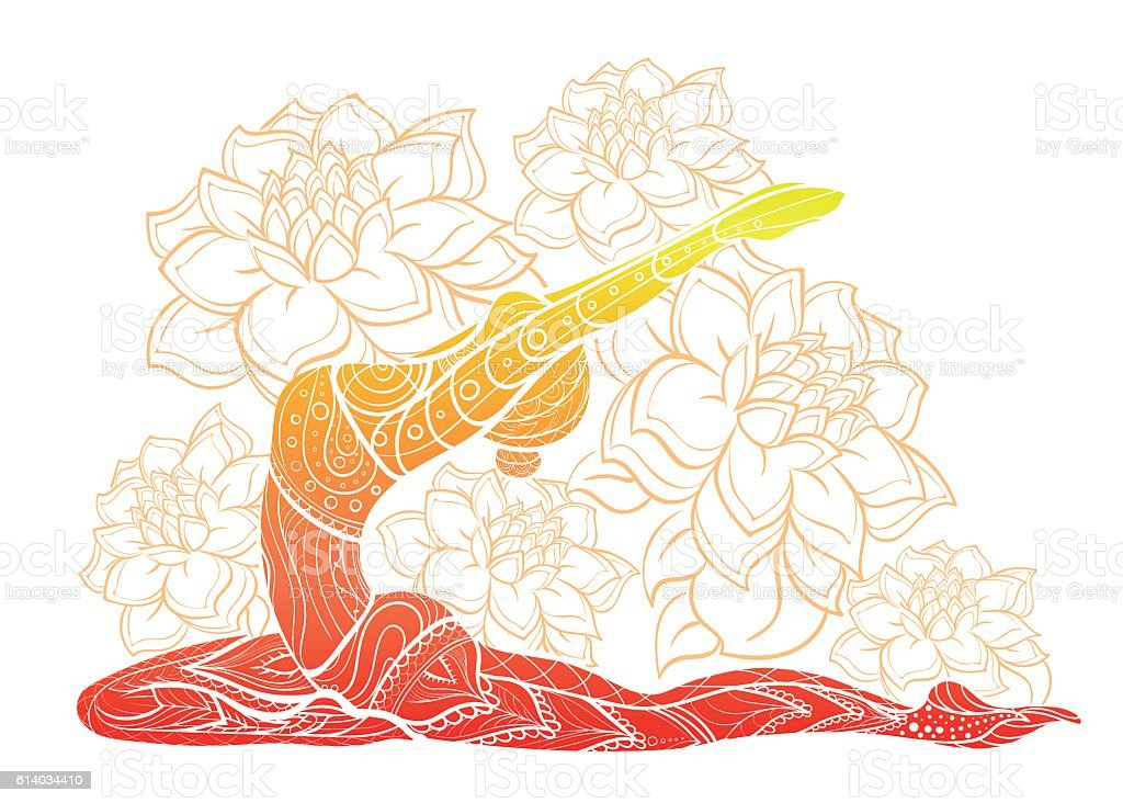 Vector silhouette of yoga woman floral ornament. vector art illustration