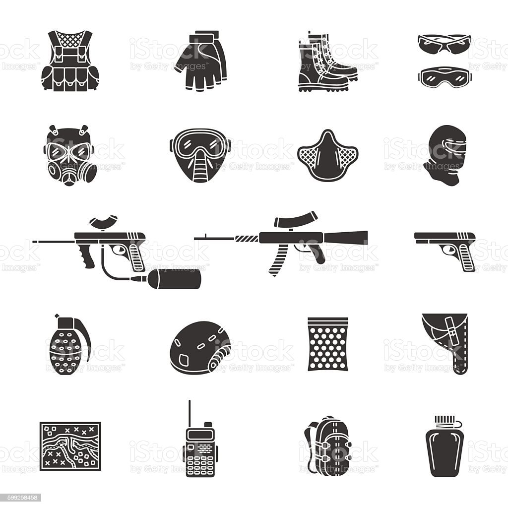 Vector silhouette paintball or airsoft icon set vector art illustration