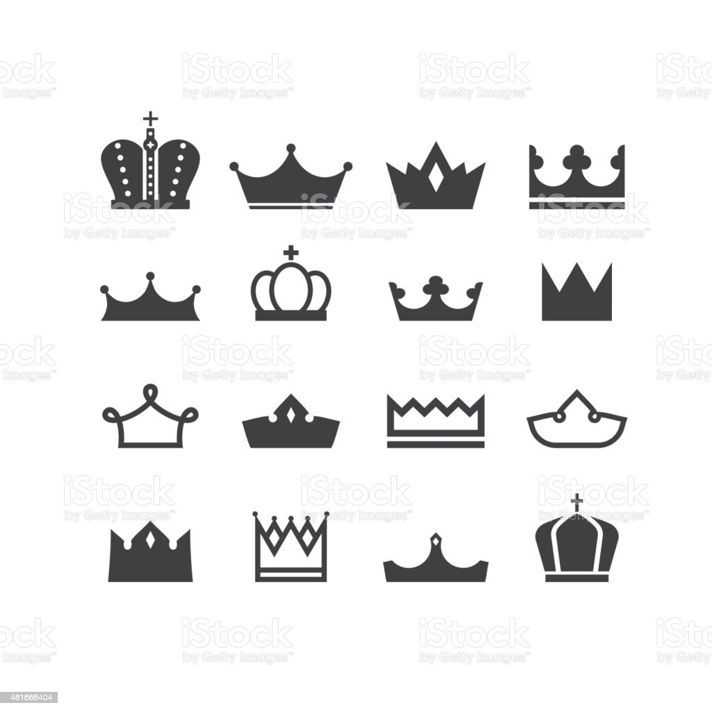 vector silhouettes crowns vector art illustration