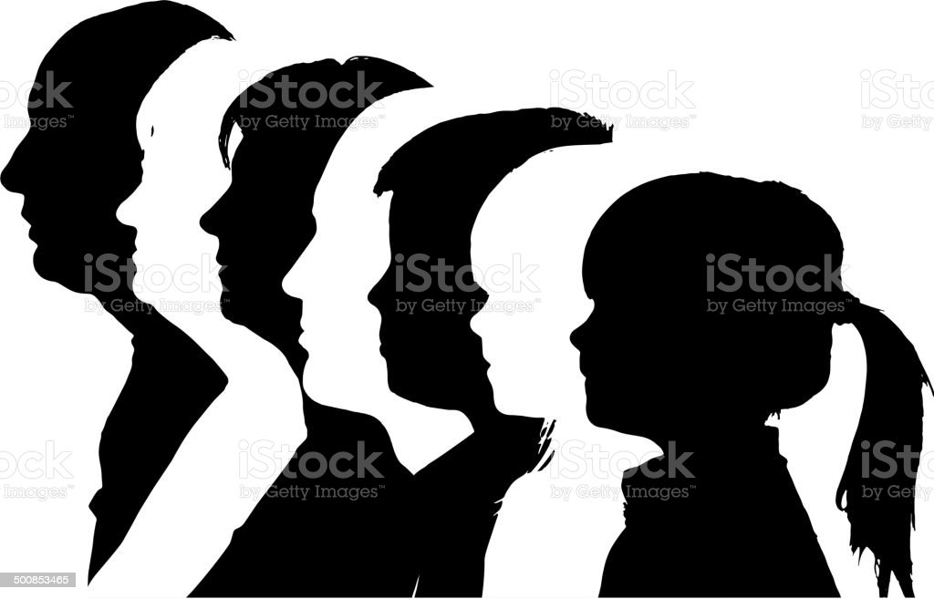 Vector silhouettes family. vector art illustration