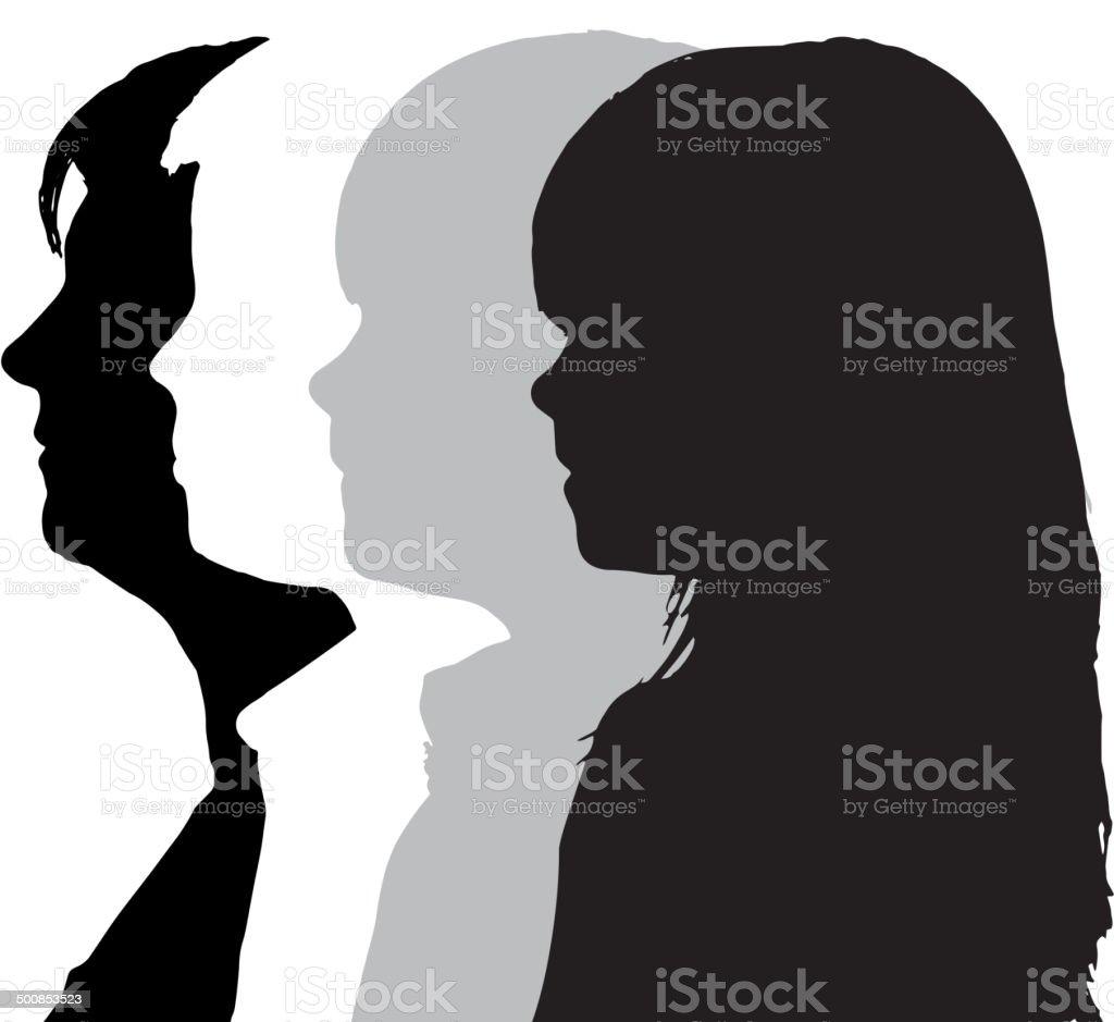 Vector silhouettes family. vector art illustration