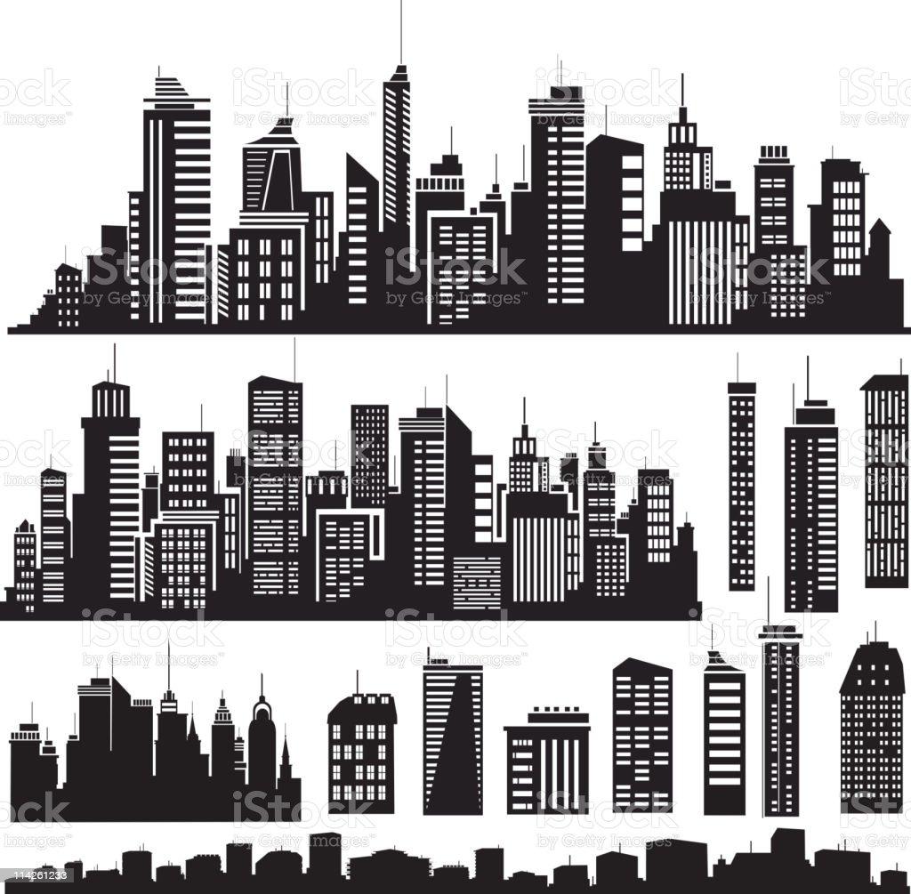 Vector   silhouettes for city's design vector art illustration