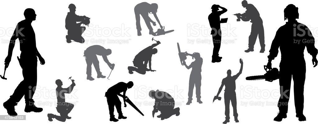 Vector silhouettes man. vector art illustration