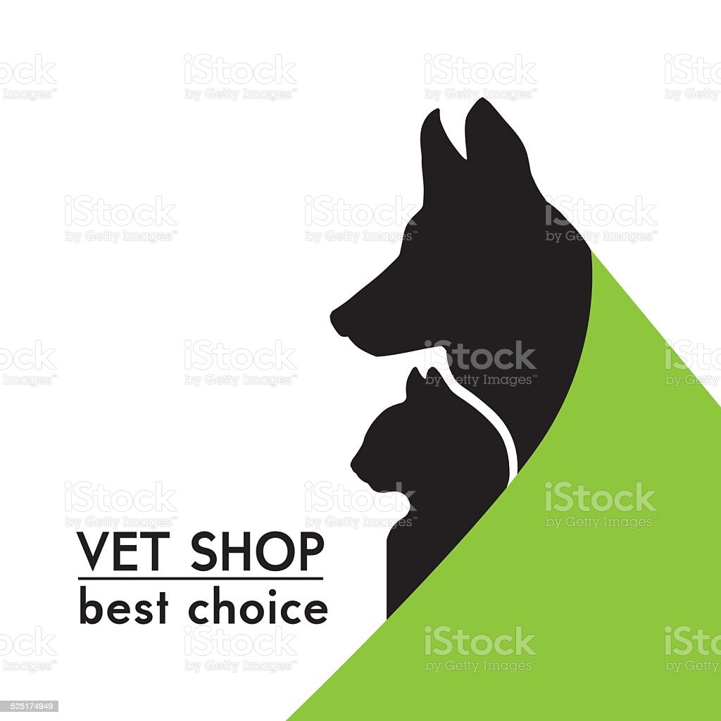 vector silhouettes of a cat and dog vector art illustration