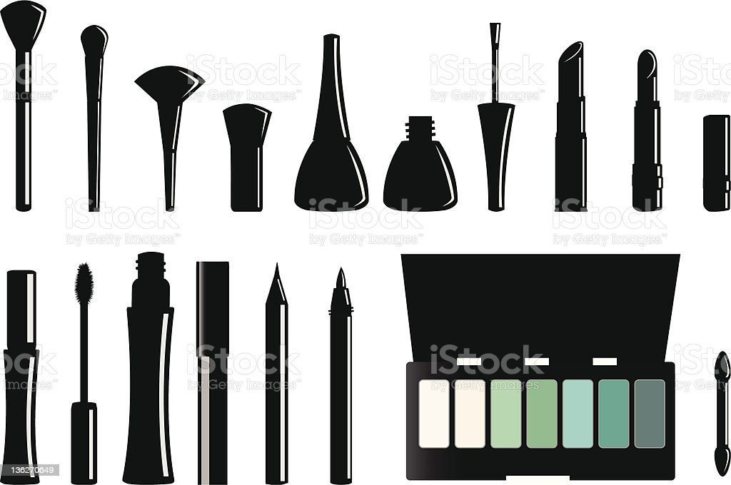 Vector silhouettes of a makeup set with colorful eyeshadow vector art illustration