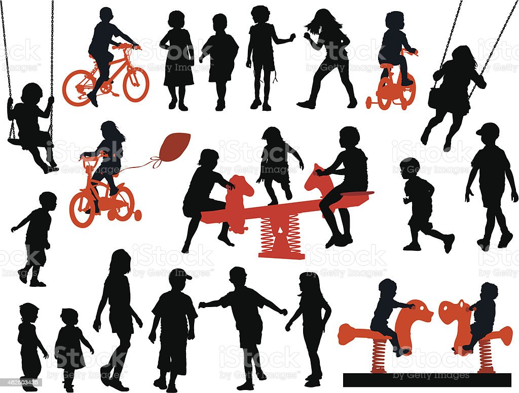 Vector silhouettes of children playing vector art illustration