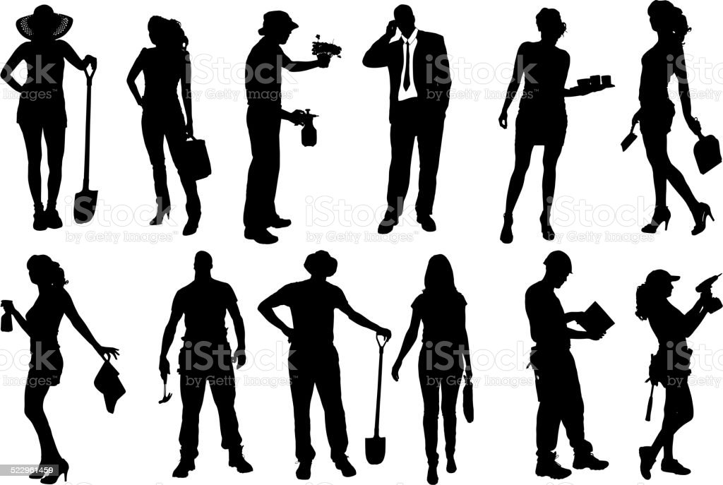 Vector silhouettes of different people. vector art illustration
