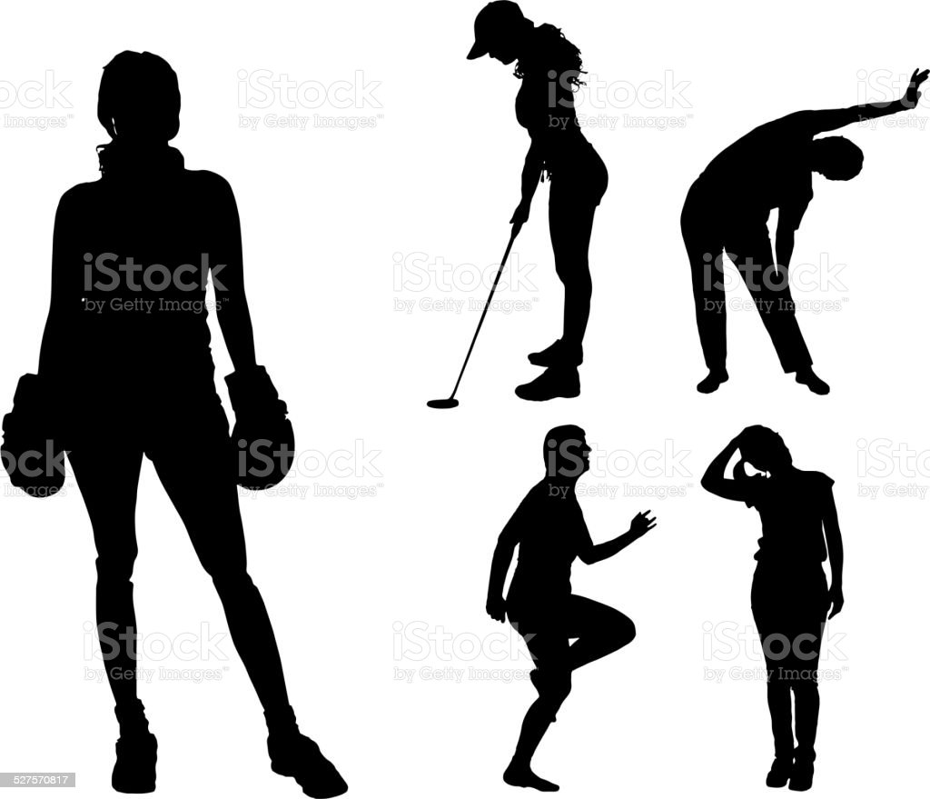 Vector silhouettes of different women. vector art illustration