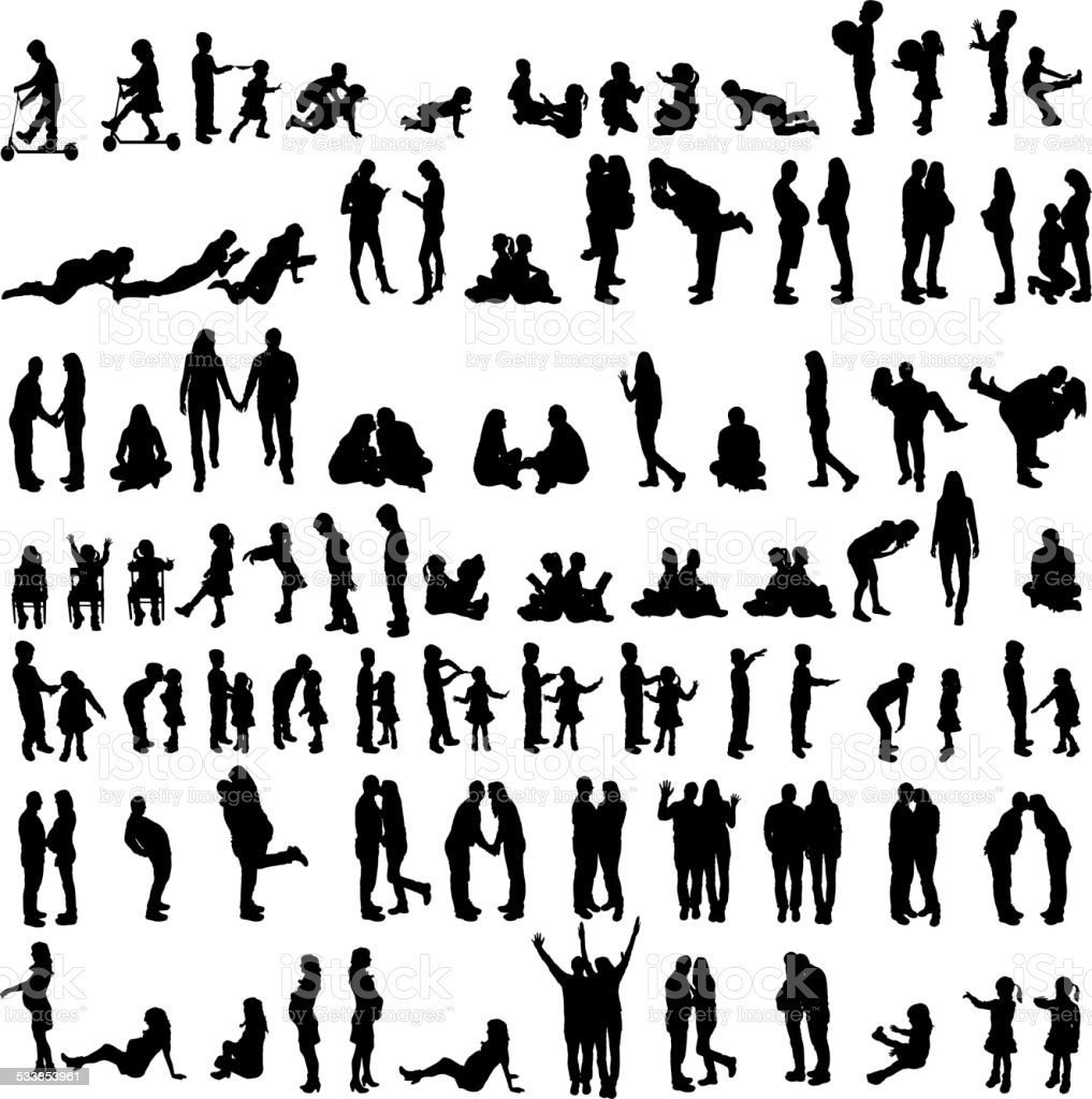 Vector silhouettes of family. vector art illustration