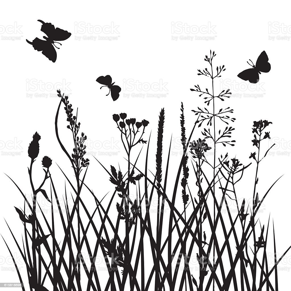 vector silhouettes of flowers and grass with butterflies vector art illustration