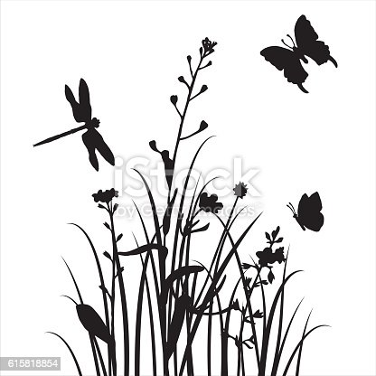 Vector Silhouettes Of Flowers And Grass With Butterflies