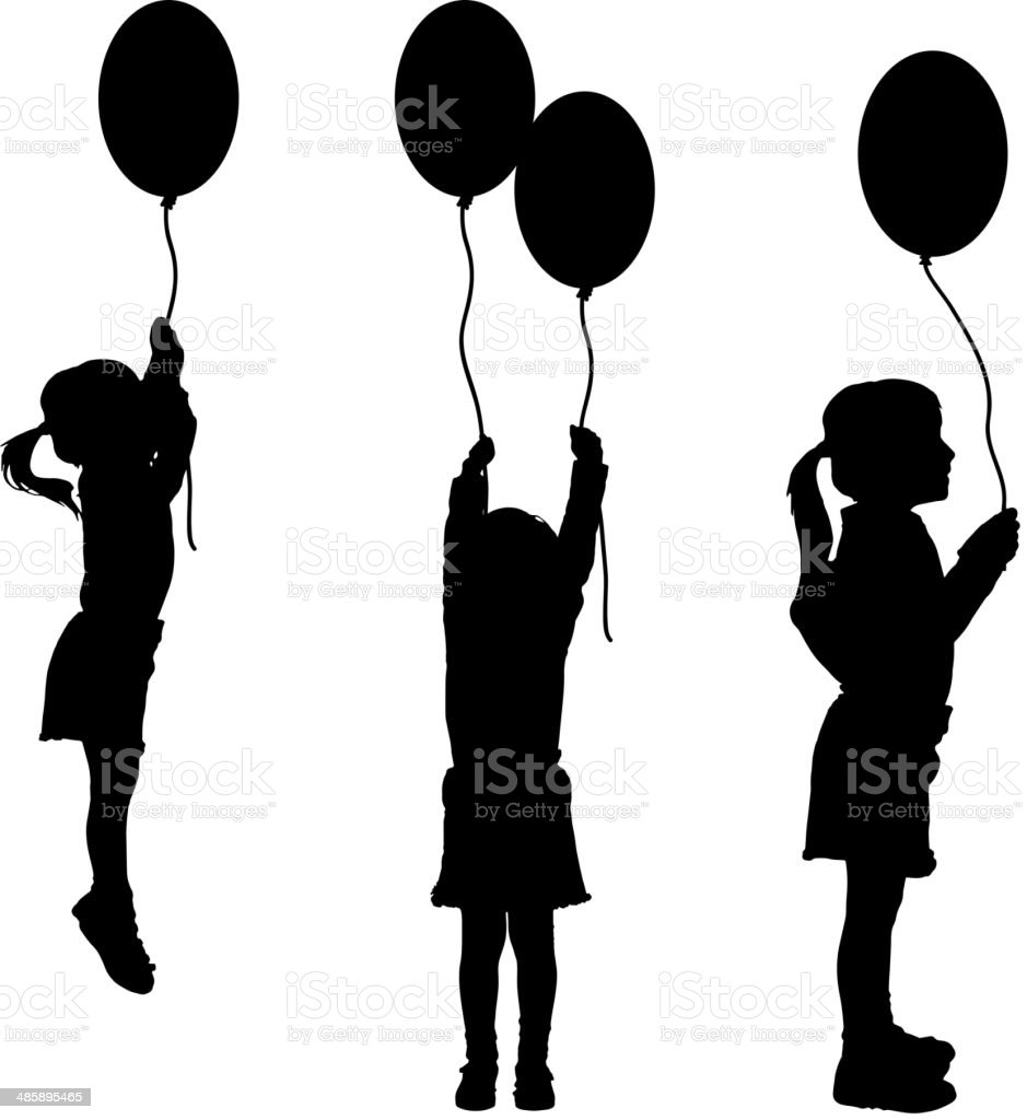 Vector silhouettes of girls with balloons. vector art illustration