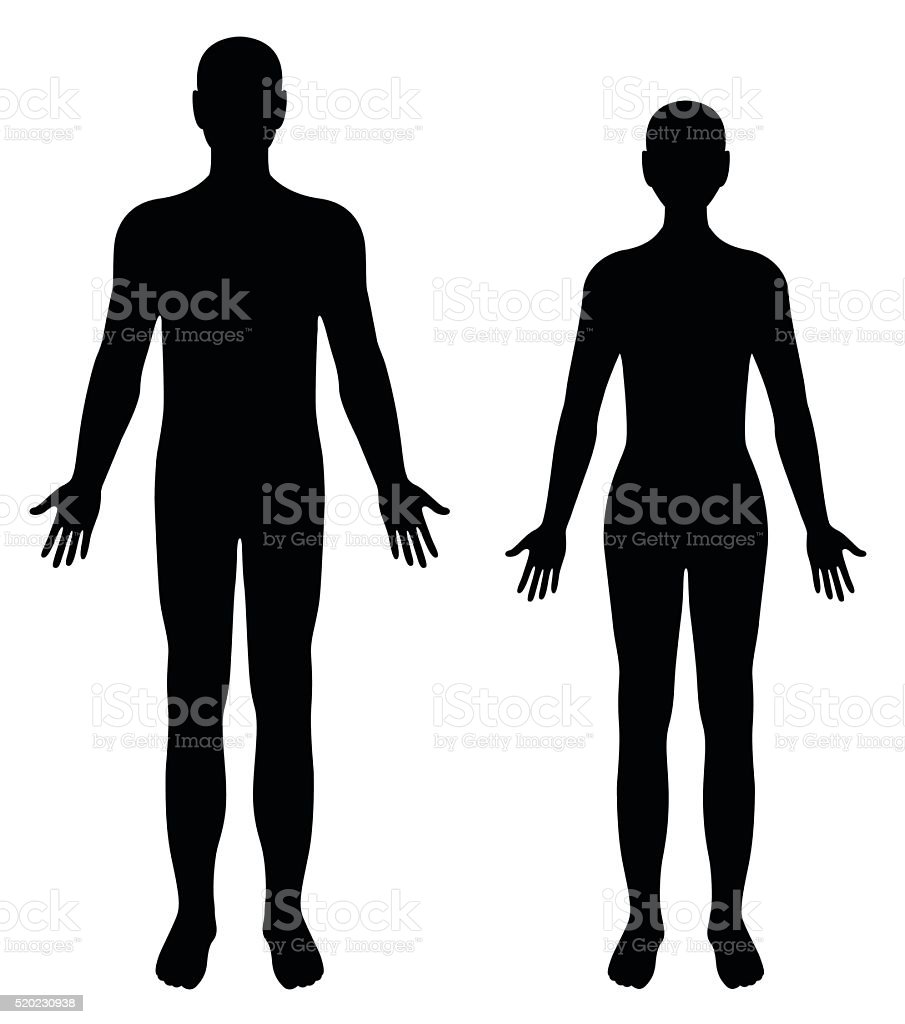 Vector silhouettes of man and woman vector art illustration