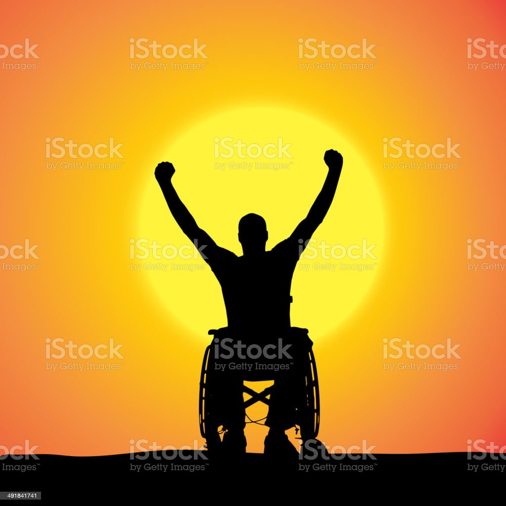 Vector silhouettes of man in a wheelchair. vector art illustration