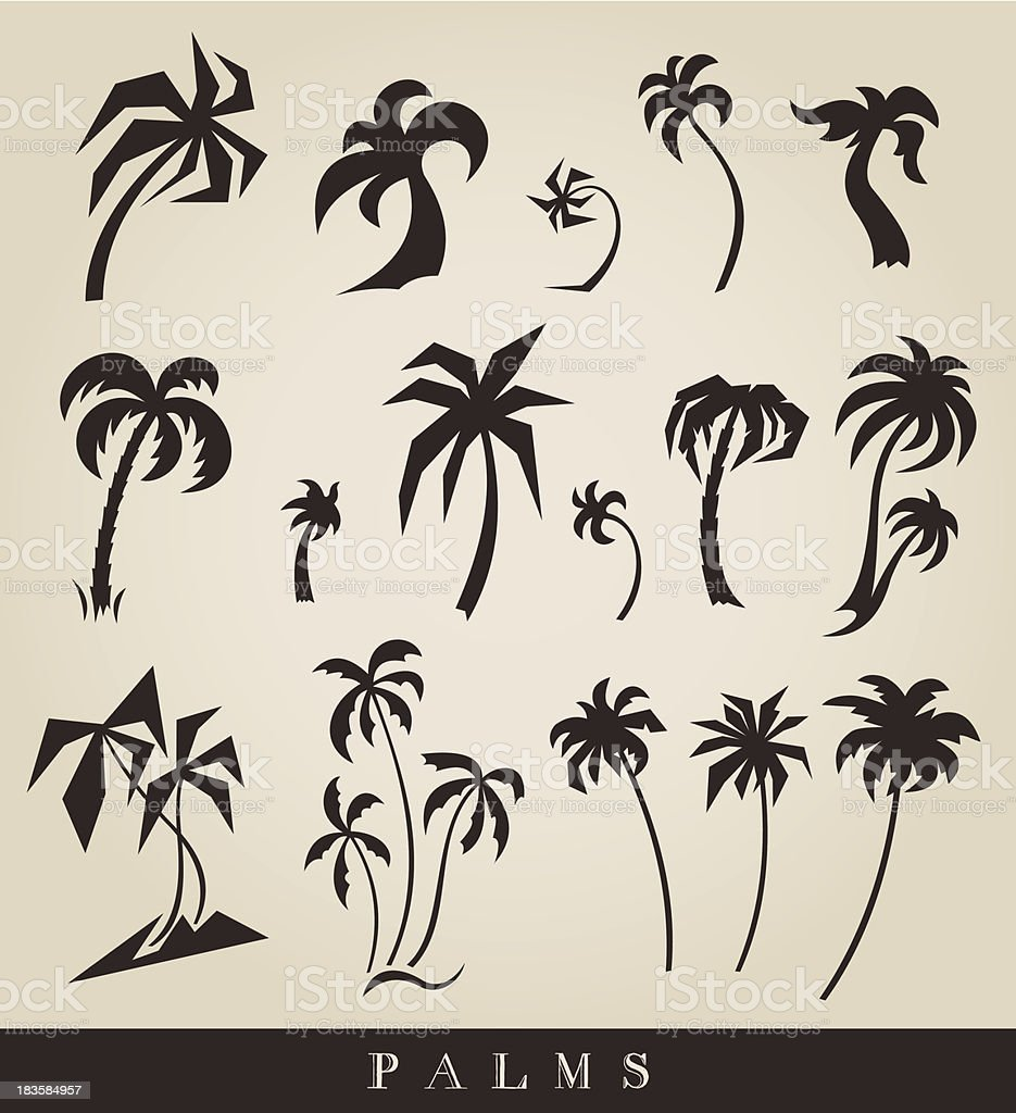 vector silhouettes of palm trees royalty-free stock vector art
