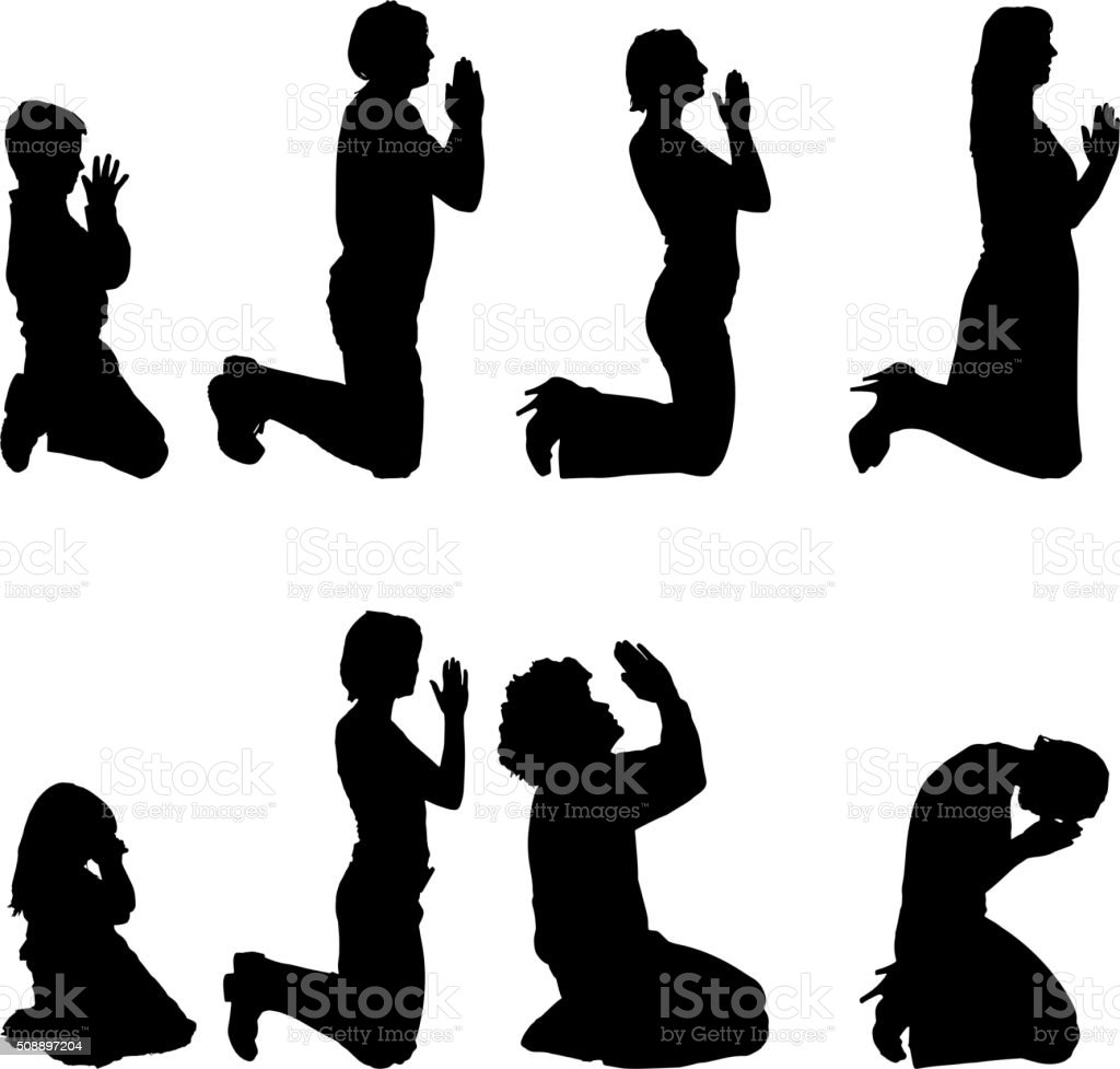 Vector silhouettes of people. vector art illustration