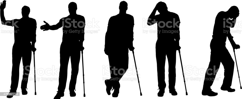 Vector silhouettes of people with crutches. royalty-free stock vector art