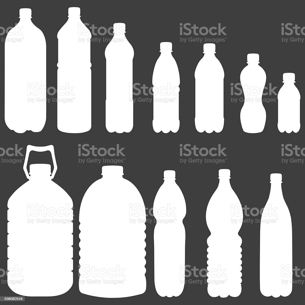 Vector Silhouettes of Plastic Bottles vector art illustration