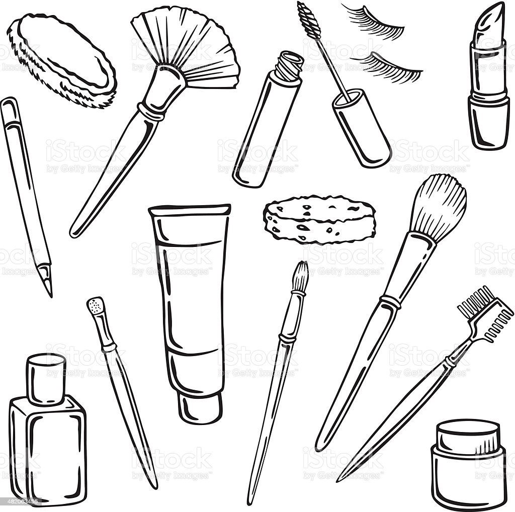 Vector silhouettes of various cosmetics vector art illustration